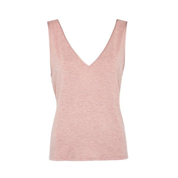 Top s/ mangas decote V modal mármore cor-de-rosa