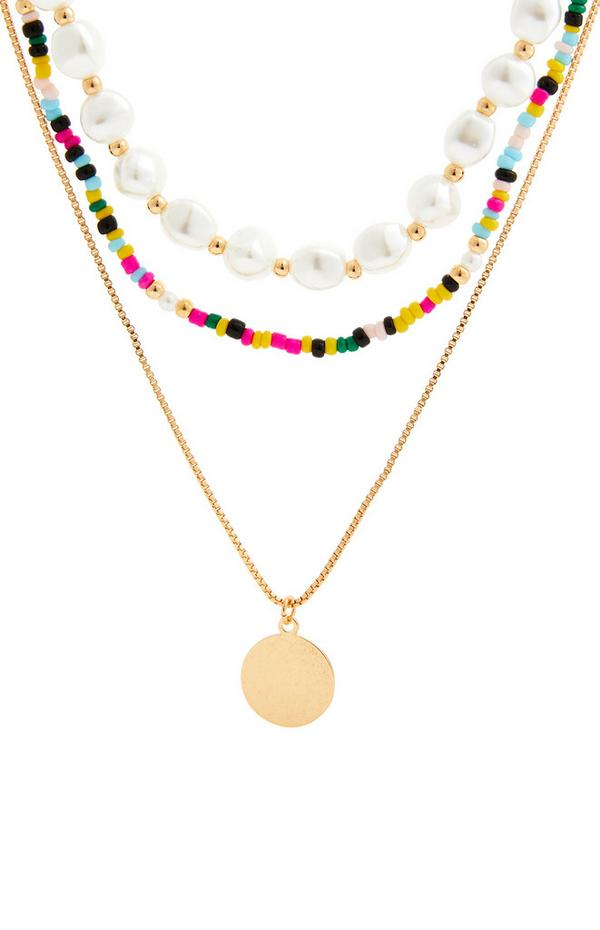 Goldfarbene, dreireihige Perlenkette mit bunten Perlen