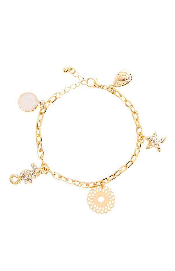 Bracelet doré à breloques et chaîne