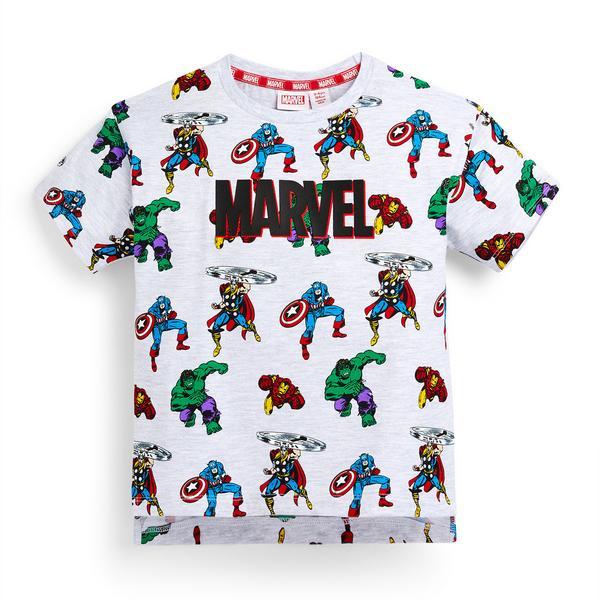 Younger Boy White Marvel Print T-Shirt