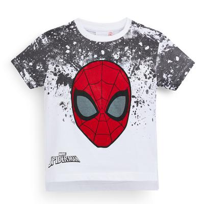 Younger Boy White Ombre Spiderman T-Shirt