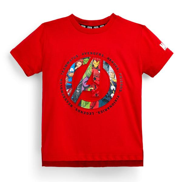 Younger Boy Red Embroidered Marvel Avengers T-Shirt