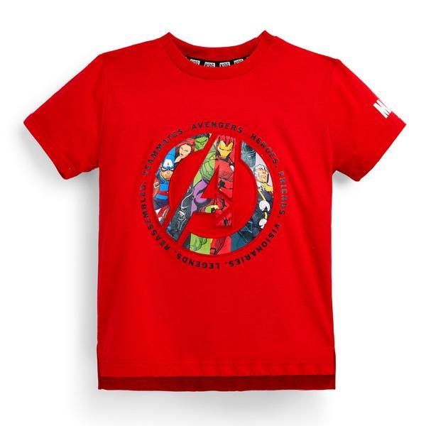 Rdeča majica s kratkimi rokavi z vezenino Marvel Avenger za mlajše fante