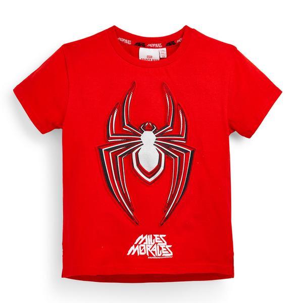 Rood T-shirt Spiderman met borduursel voor jongens