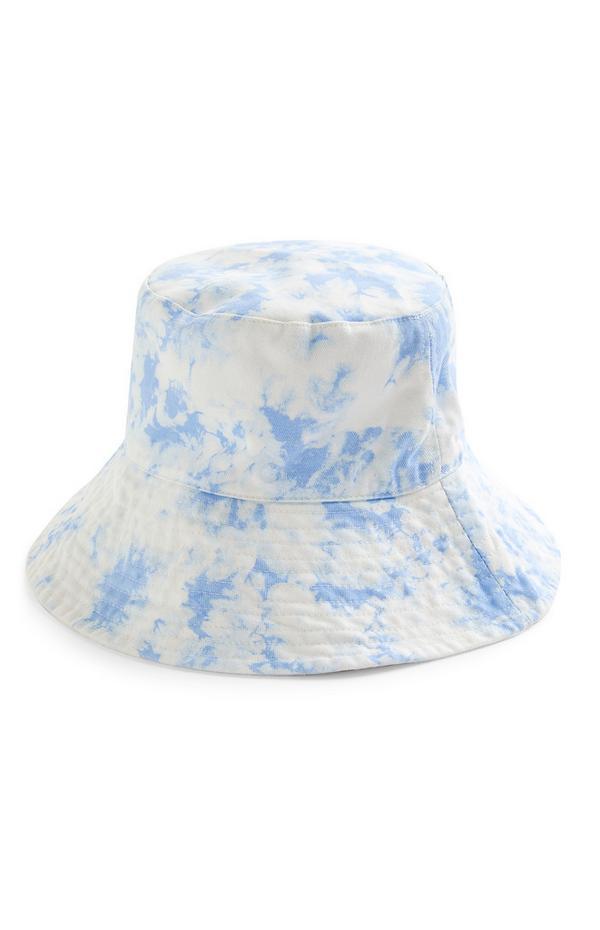 Blauw-wit omkeerbaar hoedje met tie-dye-print