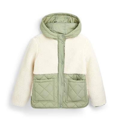 Groene gewatteerde jas en borgstof voor meisjes