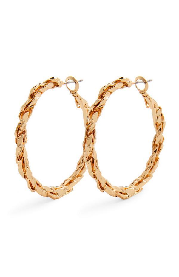 Goldtone Midi Twist Chain Hoop Earrings