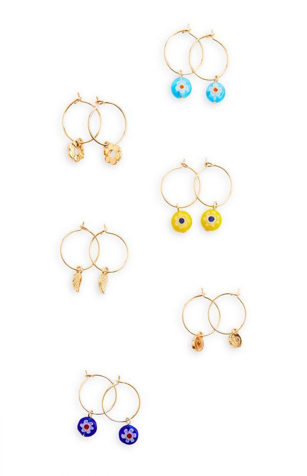 Zlati obročasti uhani z drobnimi obeski, 6 parov