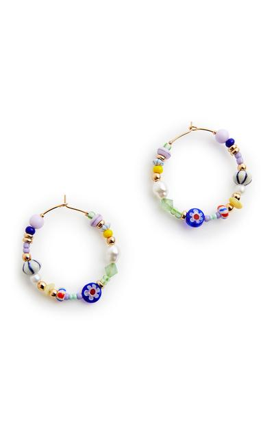 Multicolour Beaded Hoop Earrings