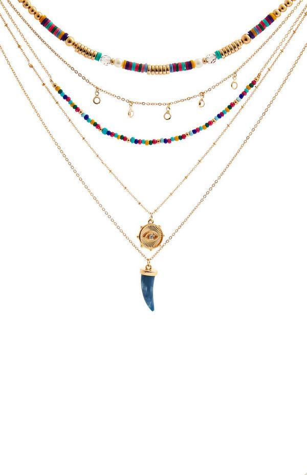 Mehrreihige Halskette mit bunten Perlen und Anhängern