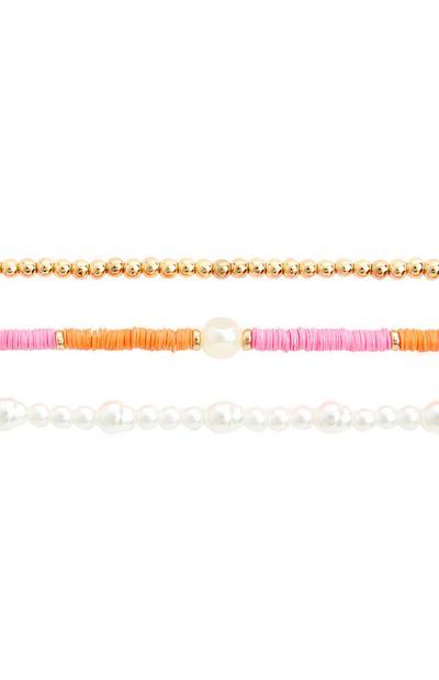 Veelkleurige enkelband met parels, set van 3