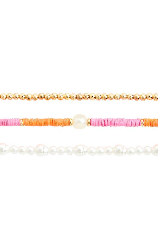 3-Pack Multi Pearl Anklets