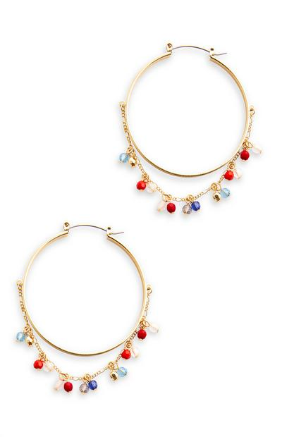 Goldtone Bead Detail Hoop Earrings