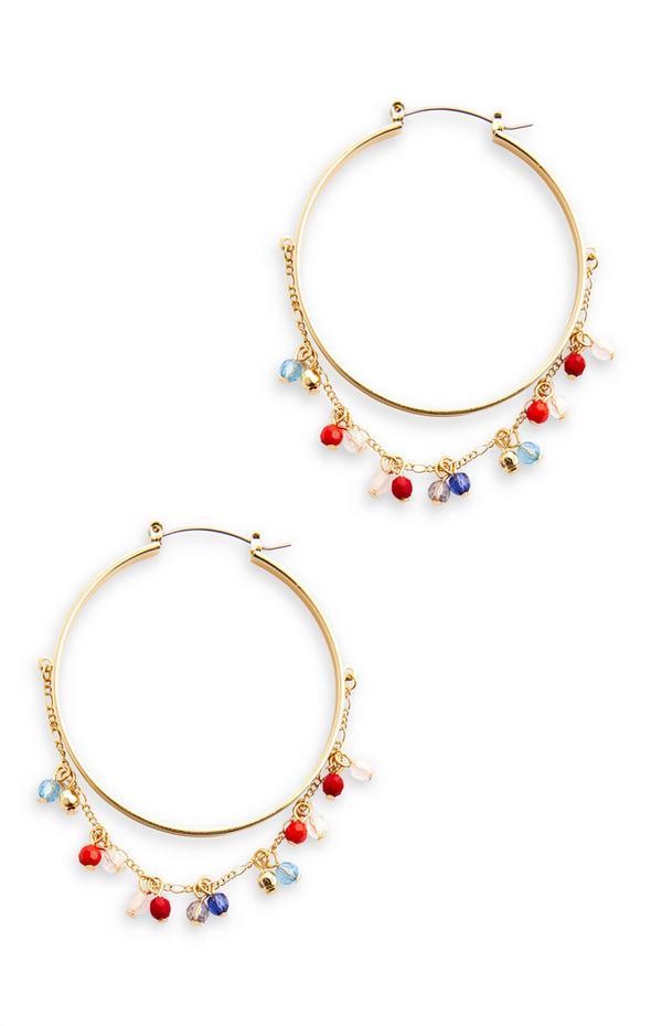 Goldtone Bead Detail Hoop Earrings