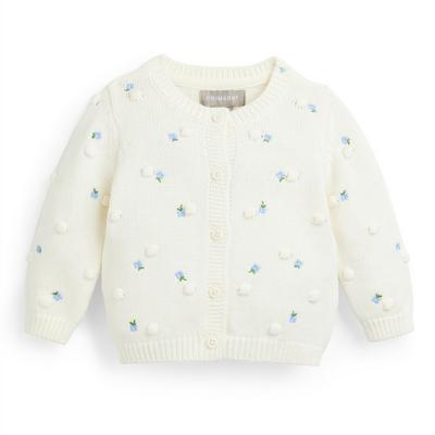 Baby Girl White Embroidered Floral Cardigan