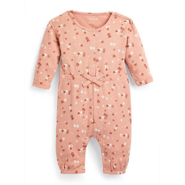 Rosa geblümter Strampler mit Waffelmuster für Babys (M)