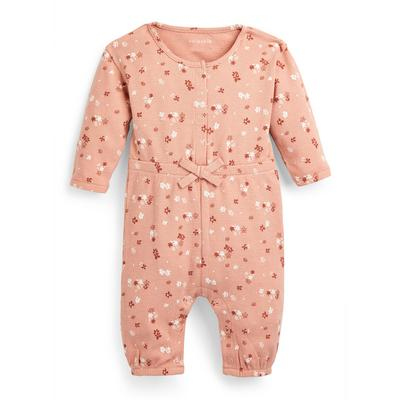 Baby Girl Pink Floral Print Waffle Romper Suit