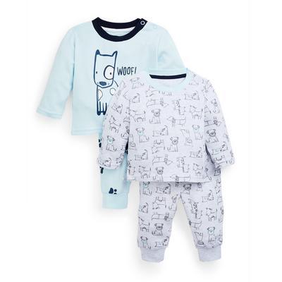 Pack 2 pijamas malha estampados cão menino bebé