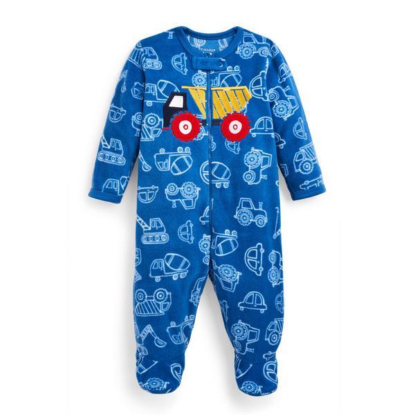 Baby Boy Blue Truck Print Sleepsuit