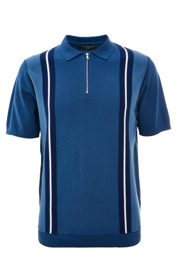 Modra črtasta majica z zadrgo in polo ovratnikom