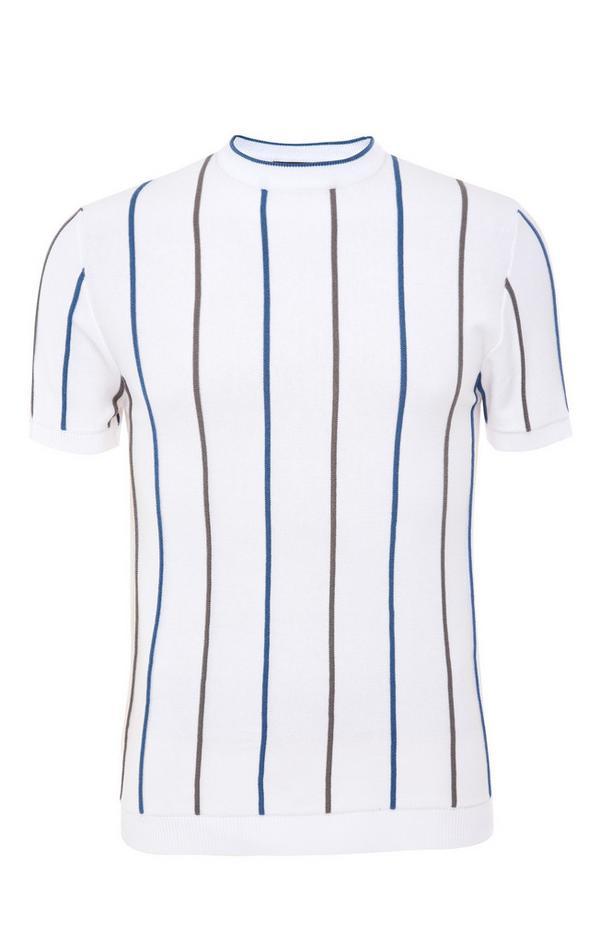 T-shirt bianca lavorata a maglia a righe
