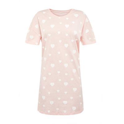 Blush Pink Heart Print Nightshirt