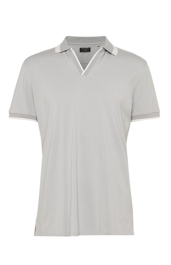 Graues Kem Poloshirt mit offenem Kragen