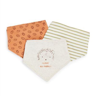 Lot de 3 bavoirs bandanas à imprimé forêt bébé garçon