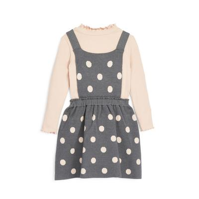 Younger Girl Grey Polka Dot Knitted 2-In-1 Pinafore Dress