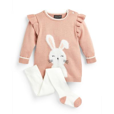 Baby Girl Pink Bunny Knit Dress And Tights Set