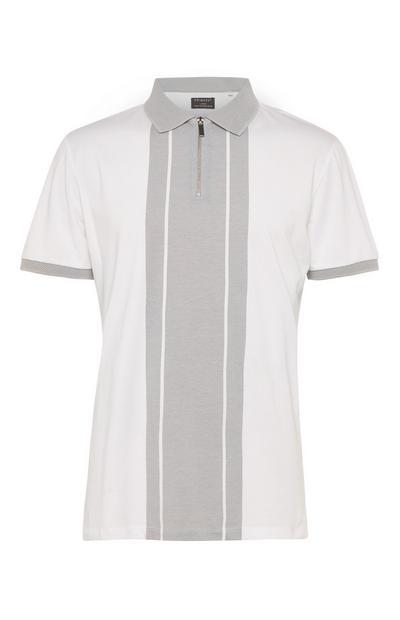 Graues Kem Poloshirt mit vertikalem Blockstreifen