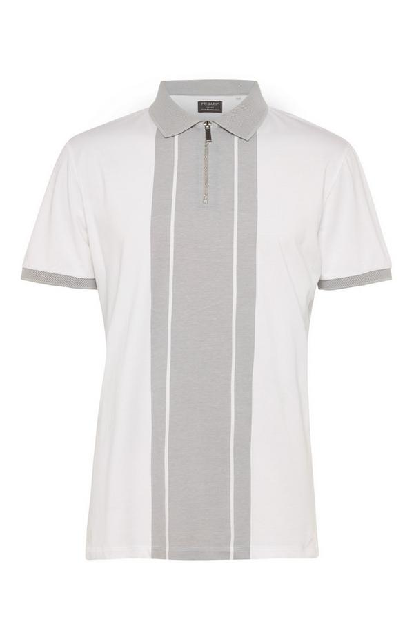 Grijs T-shirt met polokraag Kem met verticale blokstreep