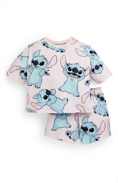 Older Girl Pink Lilo And Stitch Short Pyjama Set
