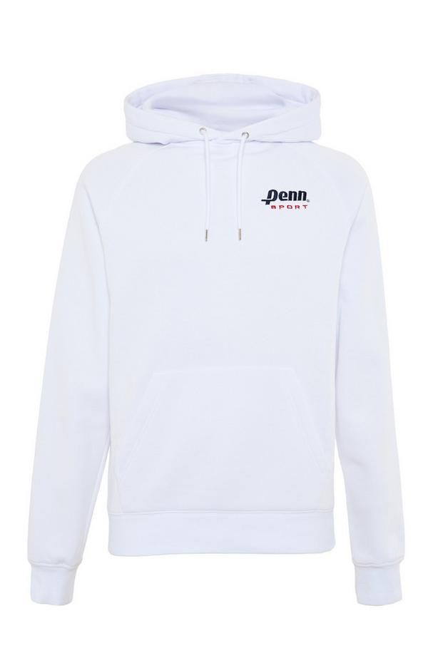 Sweat à capuche blanc avec col large Penn Sport