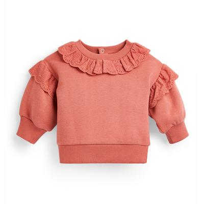 Baby Girl Pink Broidery Crew Neck Sweater
