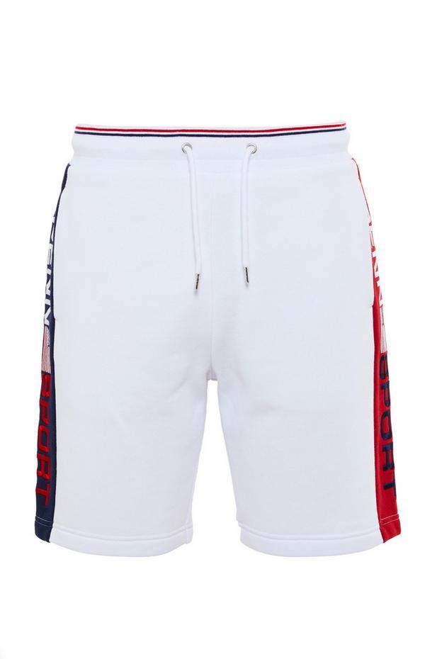 Short blanc avec rayures latérales et lien à nouer à la taille Penn Sport