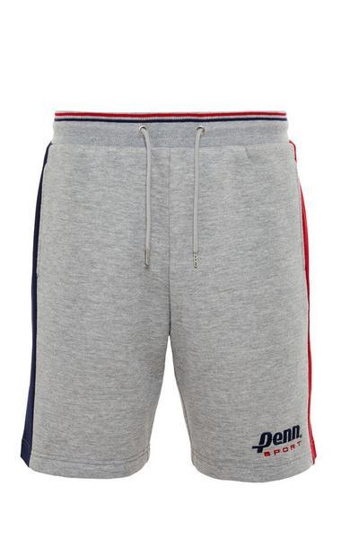 Grijze short Penn Sport met zijstreep en trekkoord in taille