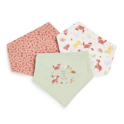 Lot de 3 bavoirs bandanas à imprimé forêt bébé fille
