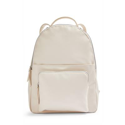 Ivory Faux PU Leather Front Pocket Backpack