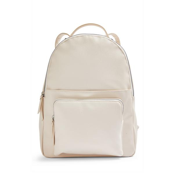 Ivory Faux Leather Front Pocket Backpack