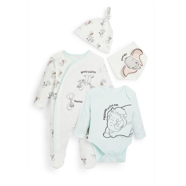 Conjunto 4 peças Dumbo recém-nascido pastel