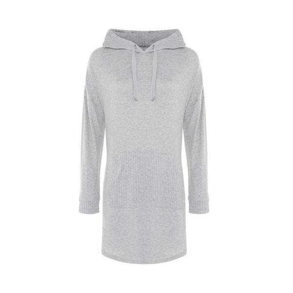 Chemise de nuit grise côtelée ultra-douce style sweat à capuche