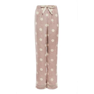 Blush Pink Polka Dot Print Satin Leggings