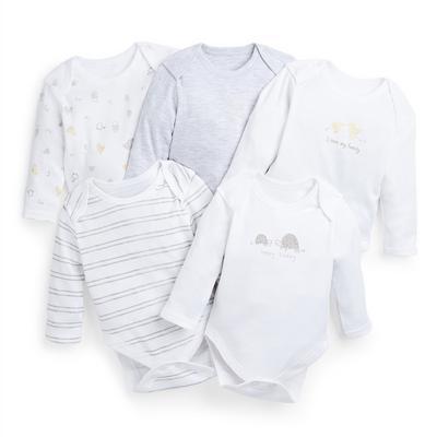 Witte rompertjes voor pasgeborenen, set van 5