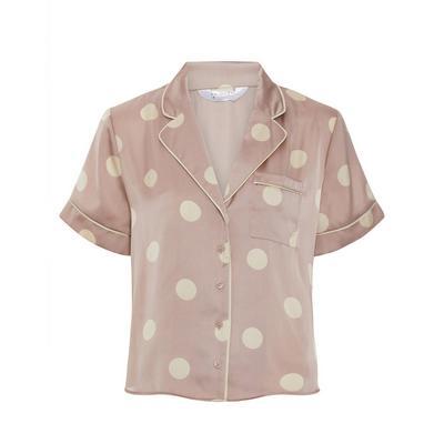Blush Pink Polka Dot Print Satin Shirt