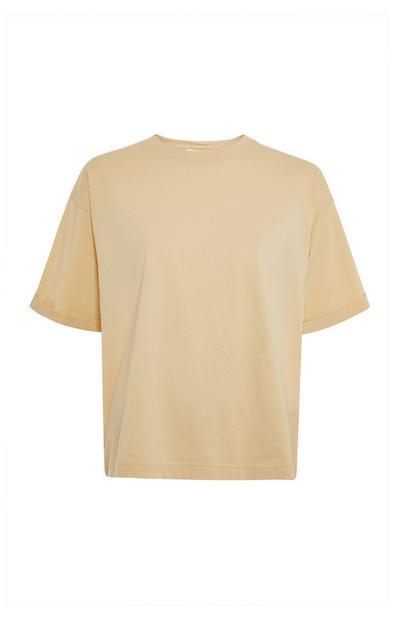 Beige Plain Cotton Boxy T-Shirt
