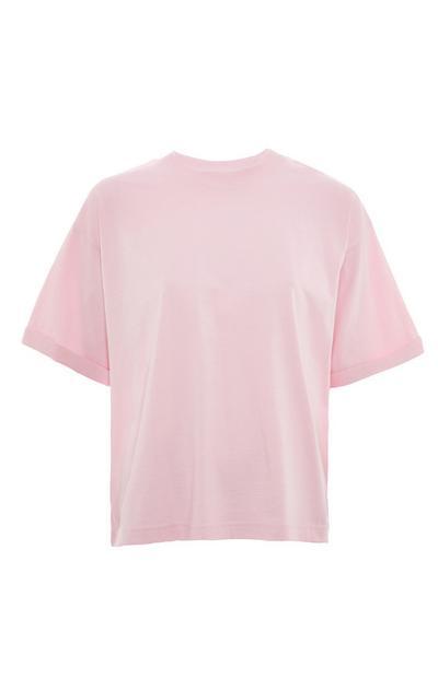 Wijdvallend roze T-shirt van katoen