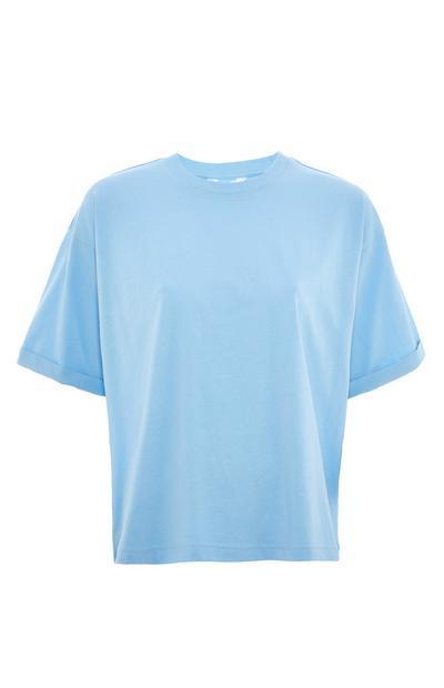 T-shirt bleu coupe droite en coton