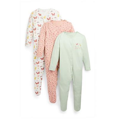 3 pigiamini con stampa bosco da bimba