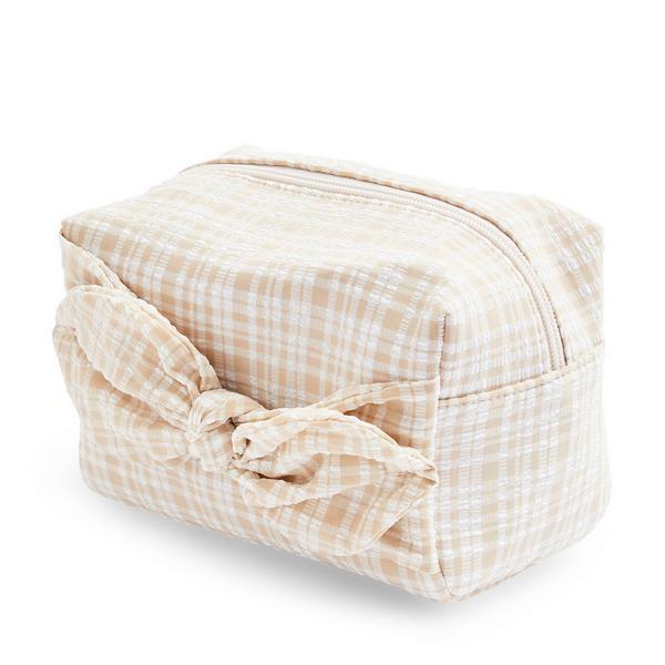 Beige Gingham Bow Detail Make up Bag